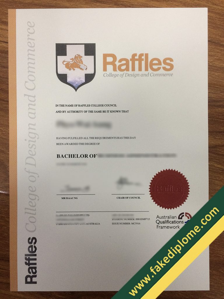 FAKE Raffles College of Design and Commerce diploma, Raffles College of Design and Commerce fake degree